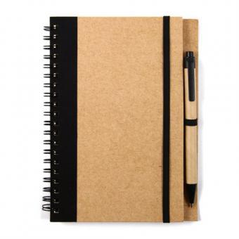 Notizbuch mit Stift und Gummiband