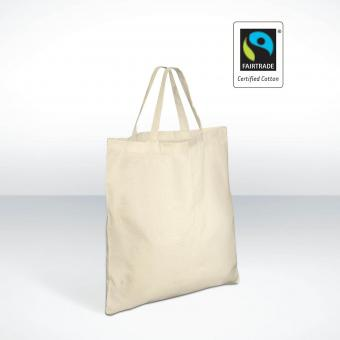 Fair Trade Baumwolltasche, kurzer Henkel